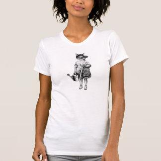 camiseta divertida del gato del estilo del vintage