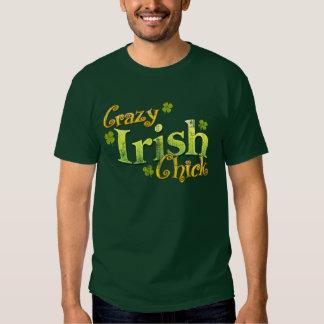 Camiseta divertida del polluelo irlandés loco retr playera