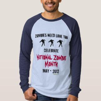 Camiseta divertida del raglán del mes del zombi playera