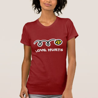 Camiseta divertida del tenis - daños del amor