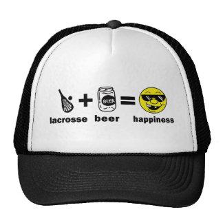 Camiseta divertida LaCrosse + Cerveza = felicidad Gorros Bordados