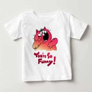 Camiseta divertida tonta del gato del dibujo playeras