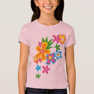 Camiseta divina de los chicas de flores de Hula Poleras