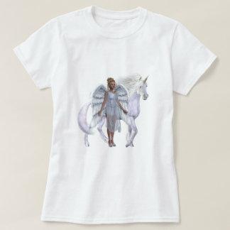 Camiseta divina del ángel y del unicornio poleras