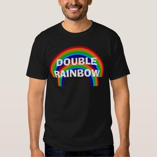Camiseta DOBLE del negro del ARCO IRIS Camisas
