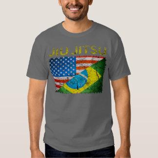 Camiseta dual de las banderas de Jiu Jitsu del Poleras