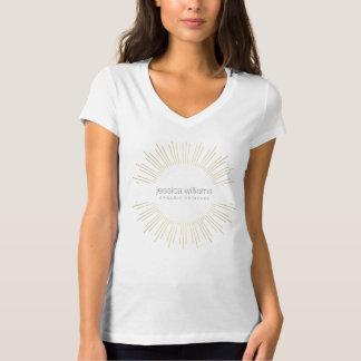 Camiseta elegante del resplandor solar del oro de