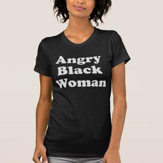 Camiseta enojada de la mujer negra con el texto