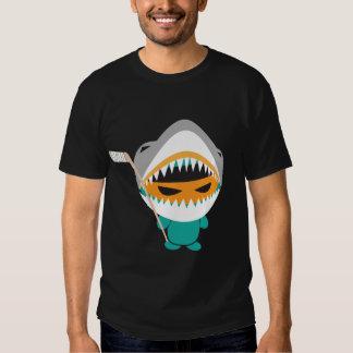 camiseta enojada del hockey del tiburón del ninja playeras