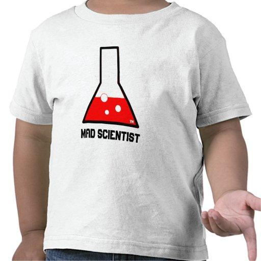 Camiseta enojada del niño del científico