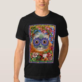 Camiseta enrrollada del gato de la flor de Wain Playera