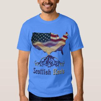 Camiseta escocesa americana de las raíces playeras