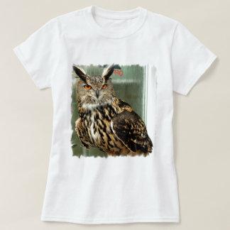 Camiseta espigada larga de las señoras del búho