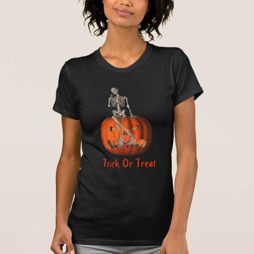 Camiseta esquelética de Halloween de la linterna