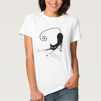 Camiseta estilizada negra del gato camisas