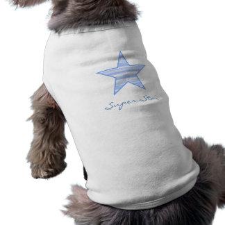 Camiseta estupenda rayada arreglada azul del perri playera sin mangas para perro