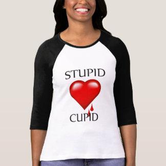 Camiseta estúpida del raglán de las señoras del