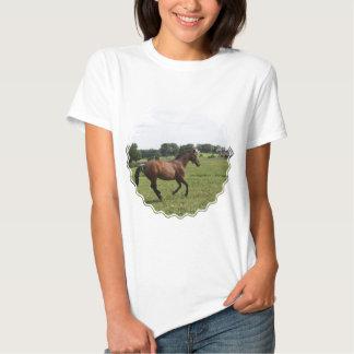 Camiseta excelente galopante de las señoras playeras