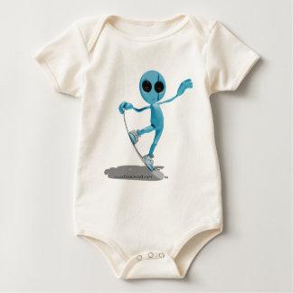 Camiseta extranjera azul de la snowboard enterito