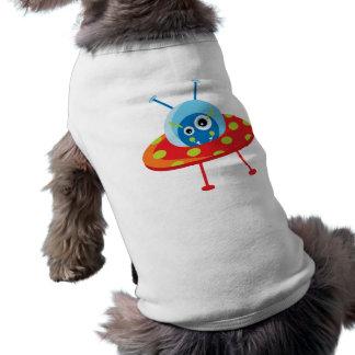 Camiseta extranjera del perrito de la nave espacia playera sin mangas para perro