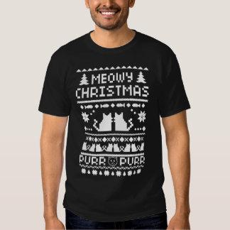 Camiseta fea del gato del navidad oscuro de Meowy Playeras
