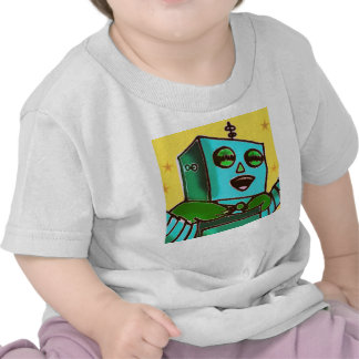 Camiseta feliz amarilla del niño del robot