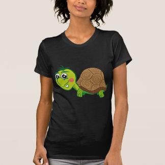 Camiseta feliz de la oscuridad de la tortuga playera