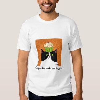 Camiseta feliz del gato de la magdalena playeras