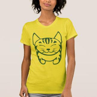 Camiseta feliz del gato de las señoras (tabby playeras