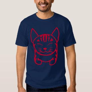 Camiseta feliz del gato de los hombres (tabby playeras