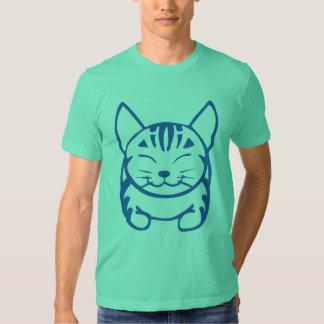 Camiseta feliz del gato de los hombres (tabby remera