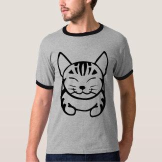 Camiseta feliz del gato de los hombres (tabby remeras