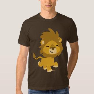 Camiseta feliz del león del dibujo animado poleras