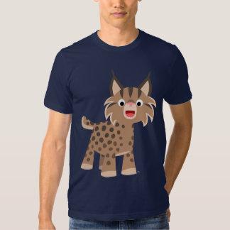 Camiseta feliz del lince del dibujo animado lindo remera