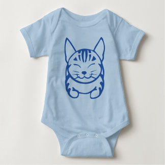 Camiseta feliz infantil del gato (tabby azul) remera