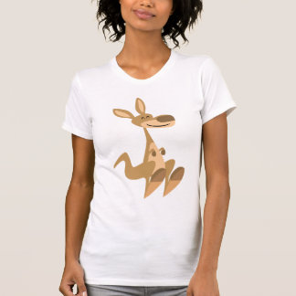 Camiseta feliz linda de las mujeres del canguro remeras