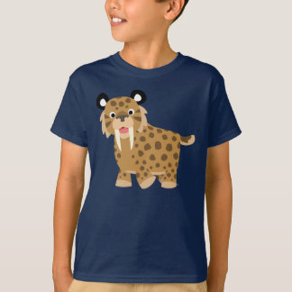 Camiseta feliz linda de los niños de Smilodon del