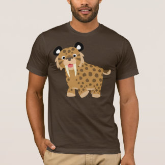 Camiseta feliz linda de Smilodon del dibujo
