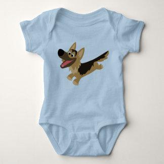 Camiseta feliz linda del bebé del pastor alemán camisas