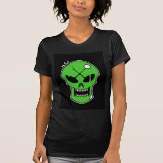 Camiseta femenina del cráneo verde tóxico de playera