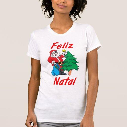 """Camiseta feminina """"Feliz Natal"""""""