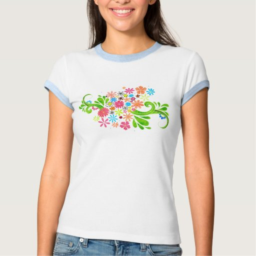 camiseta floral brillante playera