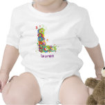 Camiseta floral del bebé del nombre del alfabeto (