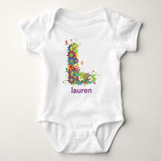Camiseta floral del bebé del nombre del alfabeto