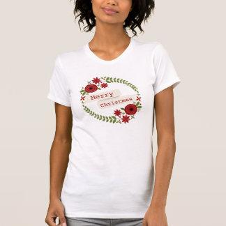 Camiseta floral del navidad de la guirnalda