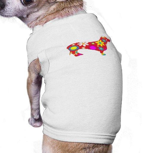 Camiseta floral enrrollada de la ropa del perro ca camisas de mascota