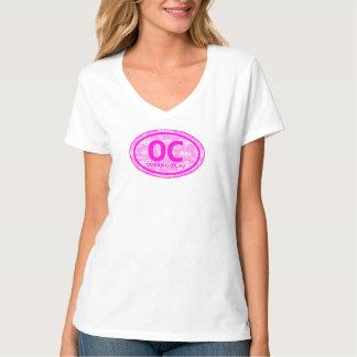Camiseta floral rosada de la etiqueta de la playa polera