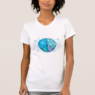 Camiseta florida del signo de la paz