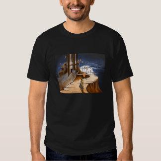 Camiseta frecuentada del castillo para los hombres poleras
