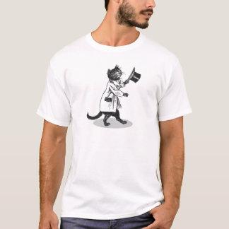 Camiseta fresca del arte del vintage del gato del